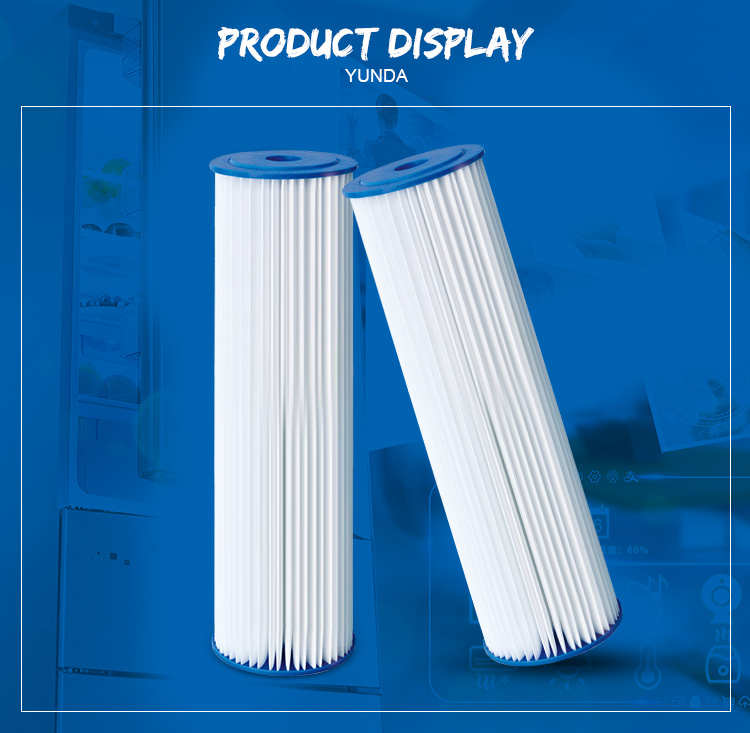 5 Micron Pleated Water Filter, 20 Inch Big Blue PP Filter Cartridge
