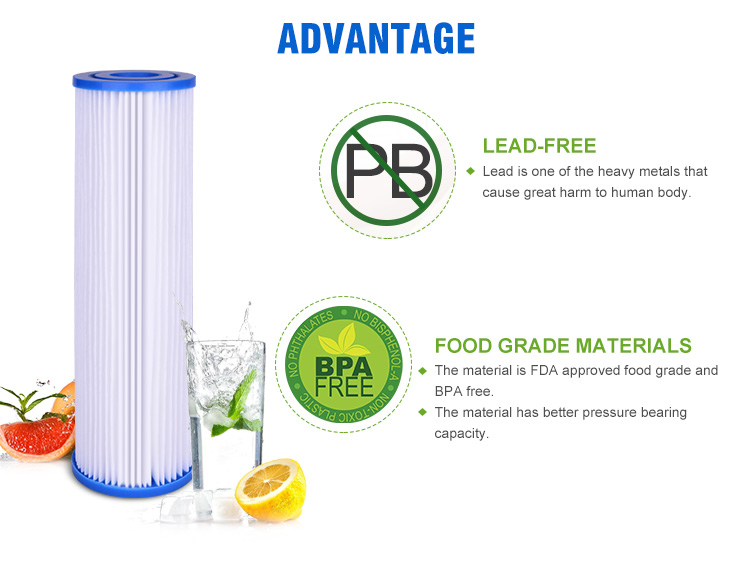 Pleated Water Filters, 10x2.5 Inch Pleated Water Filters